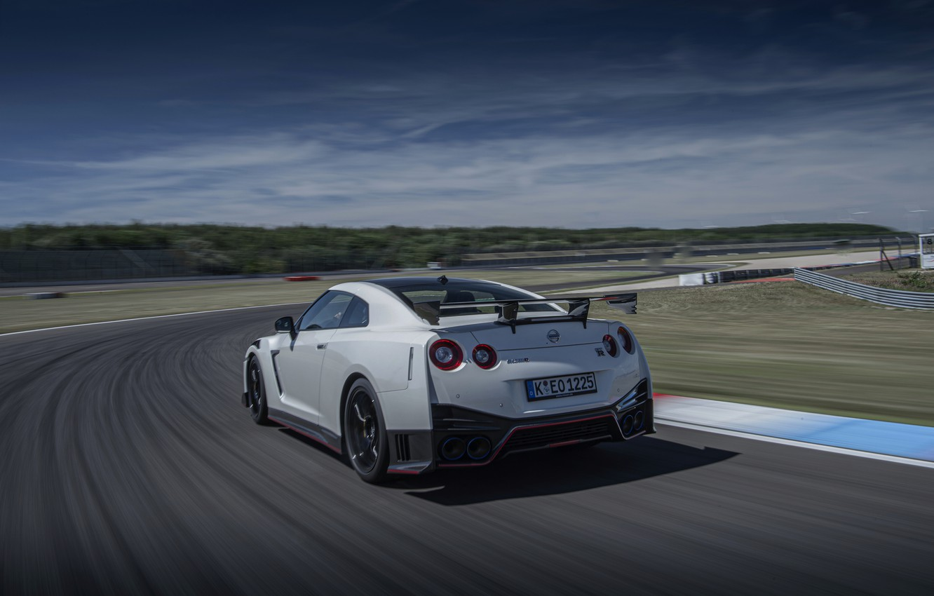 Photo wallpaper white, track, Nissan, GT-R, R35, Nismo, 2020, 2019, before turning