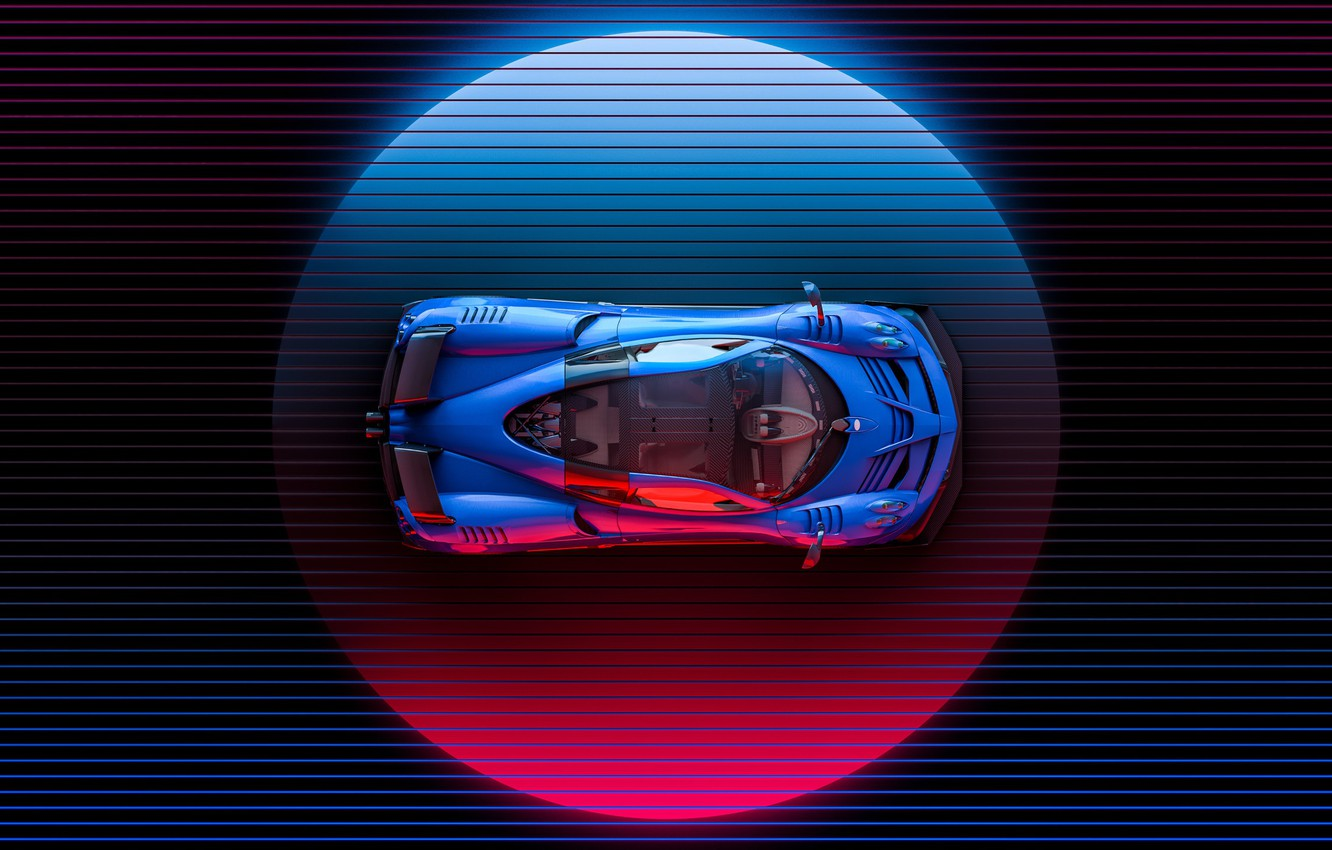 Photo wallpaper Auto, Machine, Pagani, The view from the top, Supercar, Neon, Illustration, To huayr, Huayr To …