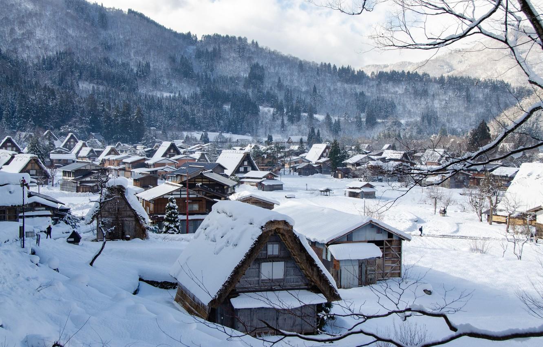 Photo wallpaper winter, snow, mountains, branches, hills, village, home, Japan, forest, Shirakawa-go