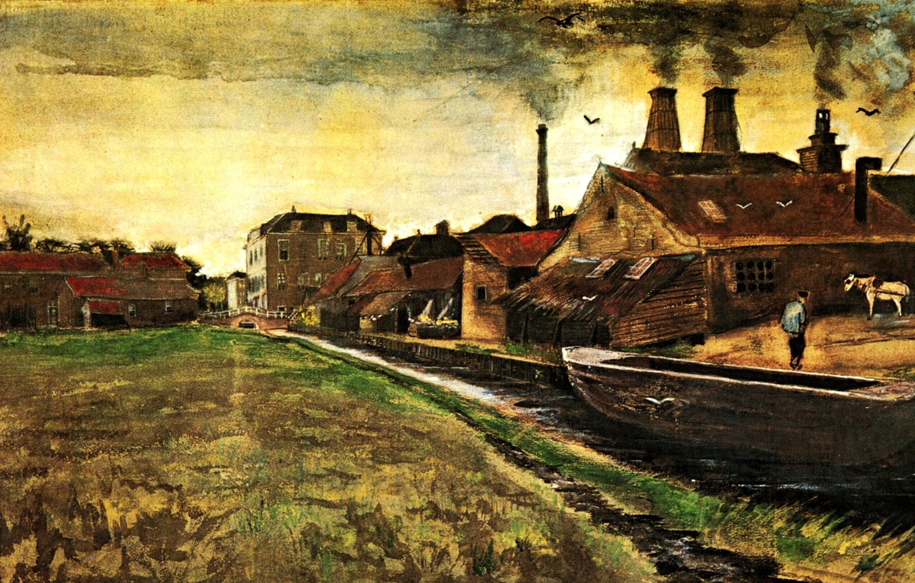 Photo wallpaper river, boat, smoke, home, Vincent van Gogh, The Hague, Iron Mill in