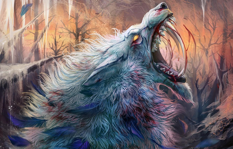 Photo wallpaper cold, wolf, ice, wool, mouth, fangs, horror, pain, werewolf, blood, werewolf, mater, roar, bu Alaiaorax