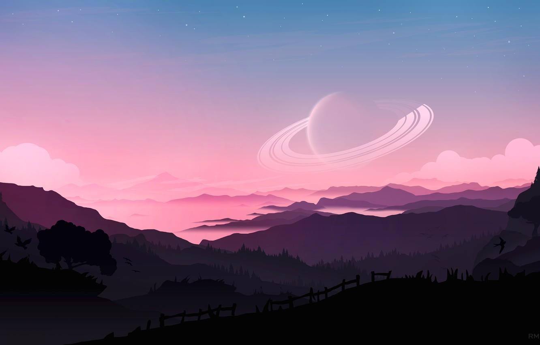 Photo wallpaper fantasy, forest, Saturn, sky, trees, sunset, mountains, clouds, stars, birds, planet, artist, digital art, artwork, …