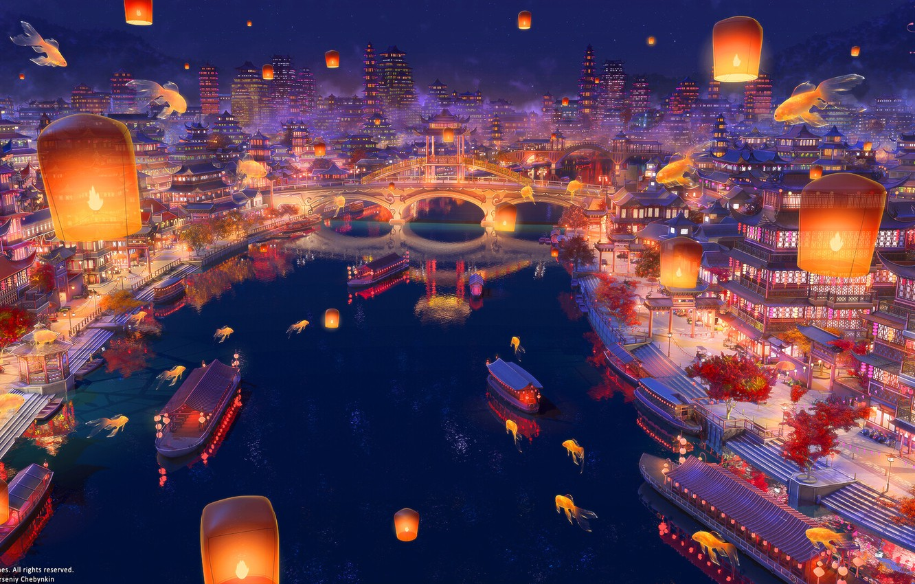 Photo wallpaper bridge, river, China, boats, Asia, goldfish, stairs, lanterns, promenade, the view from the top, the …