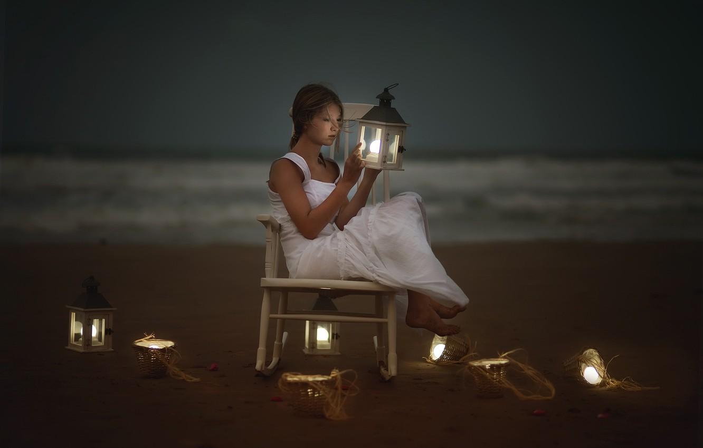 Photo wallpaper sea, girl, shore, lamp