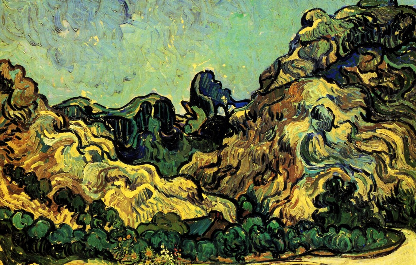 Photo wallpaper Vincent van Gogh, Mountains at Saint-Remy, with Dark Cottage