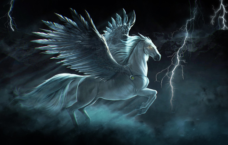 Wallpaper Horse, Wings, Zipper, Art