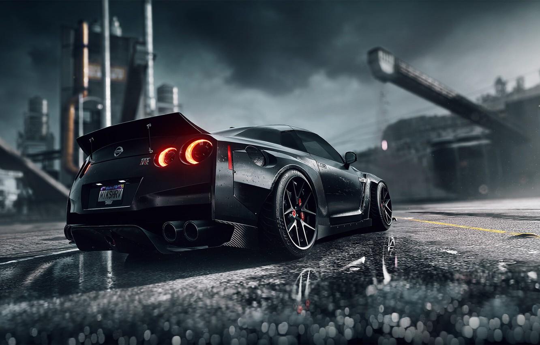 Photo wallpaper Auto, Black, Machine, Nissan, NFS, Need for Speed, Game, Heat, Sports car, Dark Knight, Black …