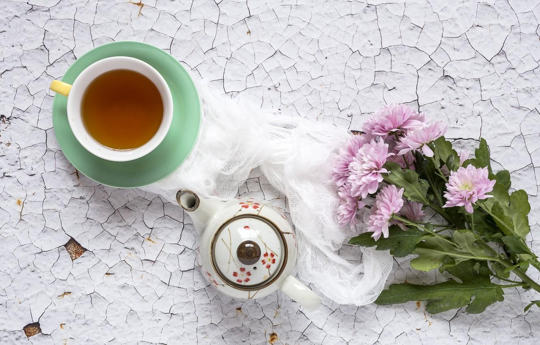 Photo wallpaper flowers, background, pink, chrysanthemum, wood, pink, flowers, cup, violet, tea, Cup of tea