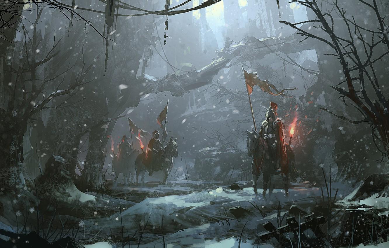 Photo wallpaper Winter, Night, Figure, Snow, Forest, Warrior, Horse, Art, Art, Army, War, Zudarts Lee, by Zudarts …