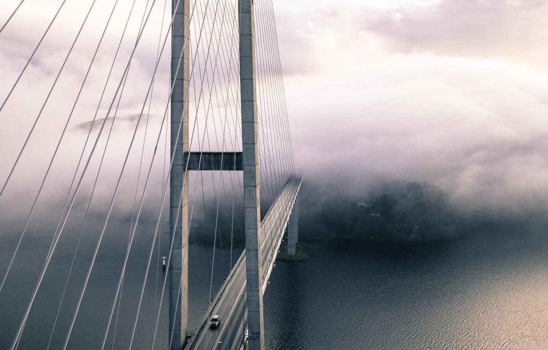 Photo wallpaper car, city, forest, sea, ocean, landscape, bridge, water, fog, architecture, steel, suspension bridge, bridge in …