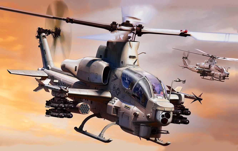 Photo wallpaper flight, pair, helicopter, Viper, Bell, shock, Marines, USMC, AH-1Z
