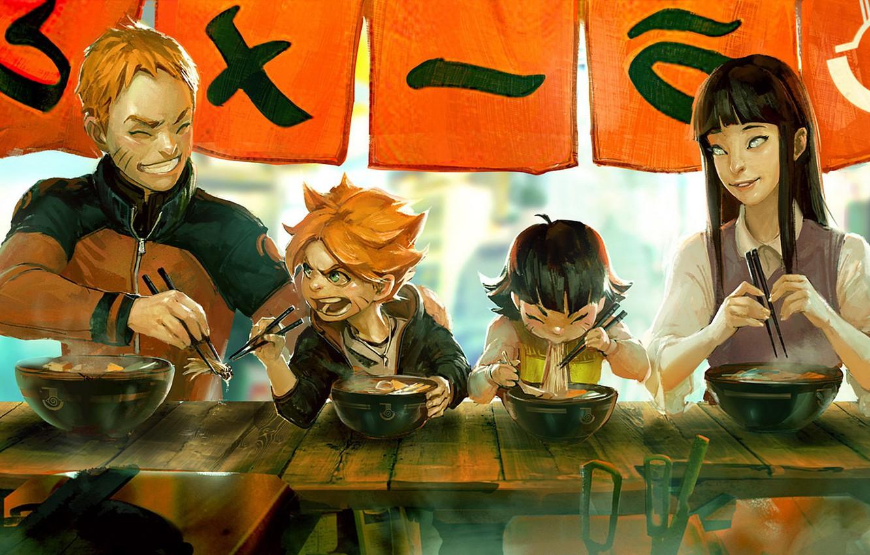 Photo wallpaper Family, Naruto, Naruto, Uzumaki Naruto, Hinata Hugo, Boruto, Boruto, Himawari, Uzumaki Boruto