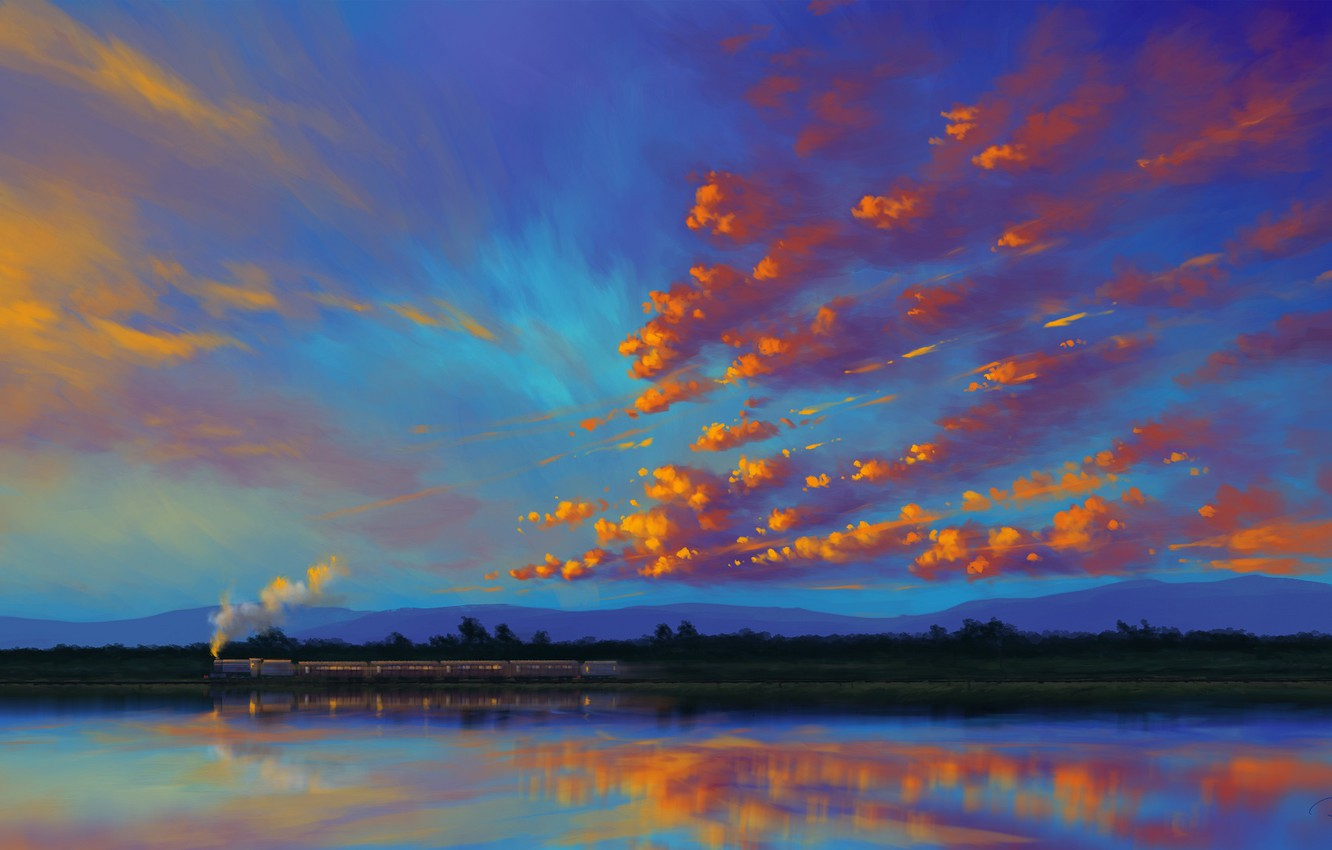 Photo wallpaper sky, landscape, sunset, water, art, clouds, lake, train, artist, reflection, digital art, artwork, BisBiswas