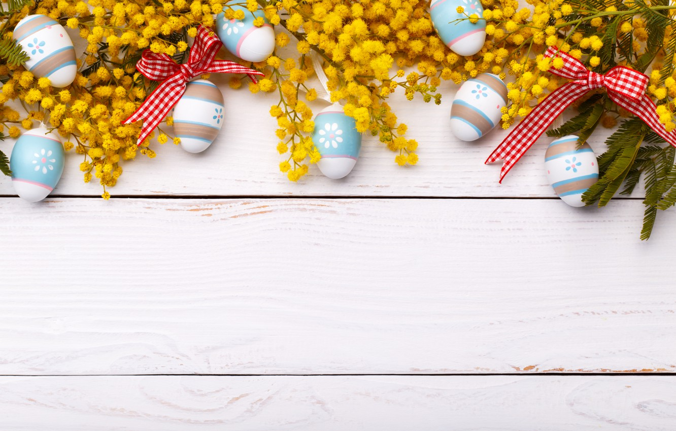 Photo wallpaper flowers, holiday, eggs, Easter, Mimosa