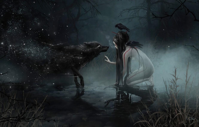 Photo wallpaper swamp, wolf, witch, werewolf, undead, wolf, witch, dark forest, black magic, the fog at night, …