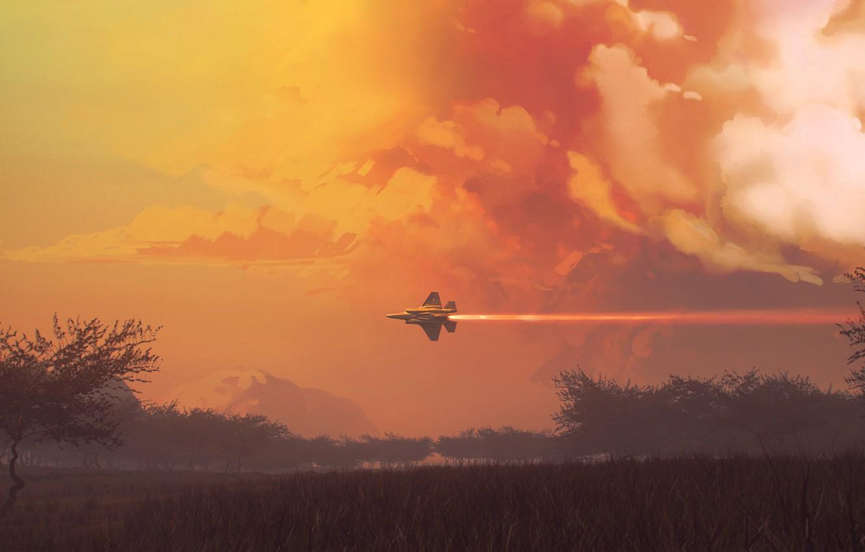 Photo wallpaper Clouds, The plane, Flight, Fighter, Landscape, Clouds, Landscape, Jet, Airplane, Flying, Bird, Flies, Fighter, James …