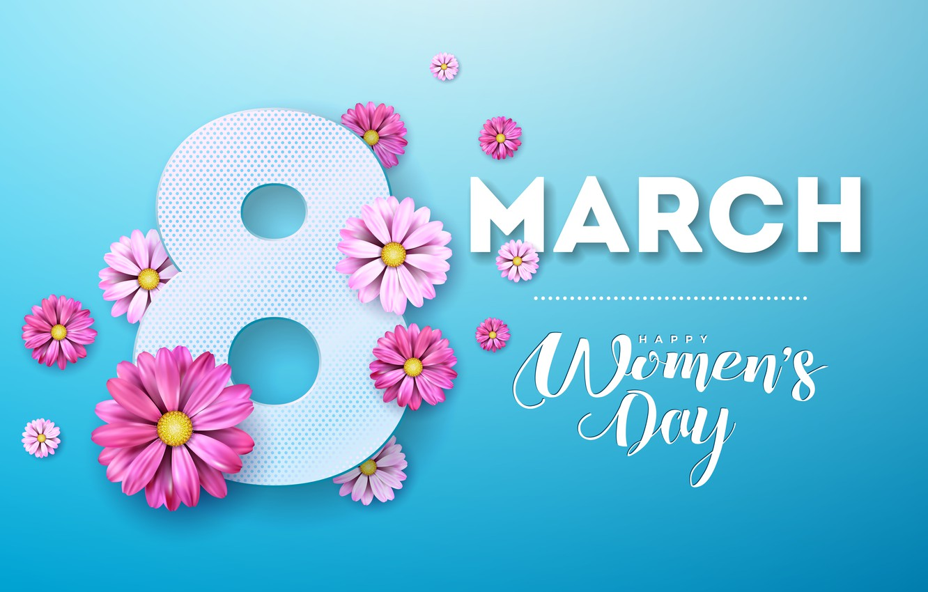 Photo wallpaper flowers, pink, happy, March 8, pink, flowers, blue background, women's day, 8 march, women's day