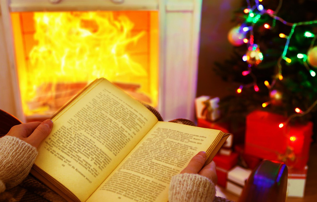 Photo wallpaper girl, heat, tree, lights, hands, New Year, Christmas, gifts, book, fireplace, cozy