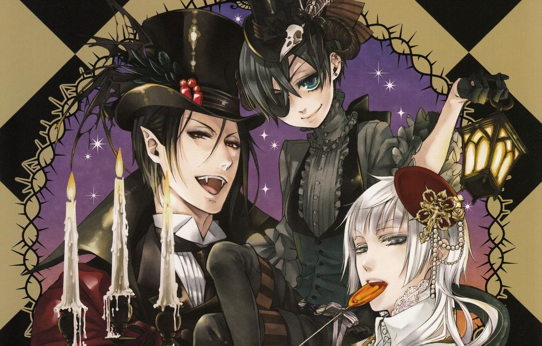 Photo wallpaper fangs, Halloween, vampire, black suit, Dark Butler, Dracula, Kuroshitsuji, Sebastian Michaelis, Ciel Phantomhive, hell of …