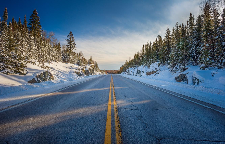 Photo wallpaper winter, road, the sky, snow, trees, nature, roadside
