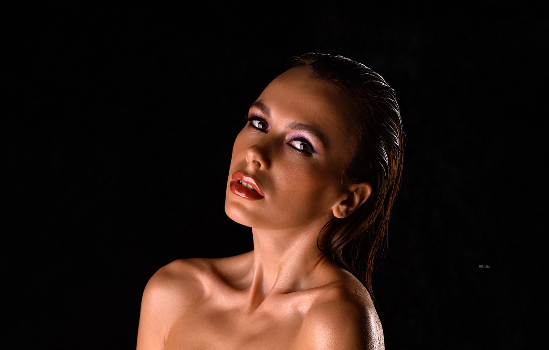 Photo wallpaper look, model, portrait, wet, makeup, hairstyle, brown hair, beauty, black background, Eugene Balin, E.Balin, Estasique