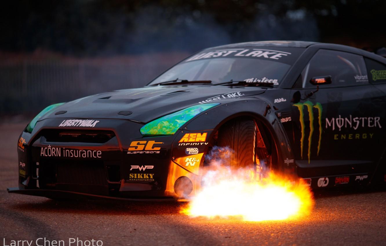 Photo wallpaper fire, flame, Nissan, GT-R, drift, Monster Energy, R35, Larry Chen