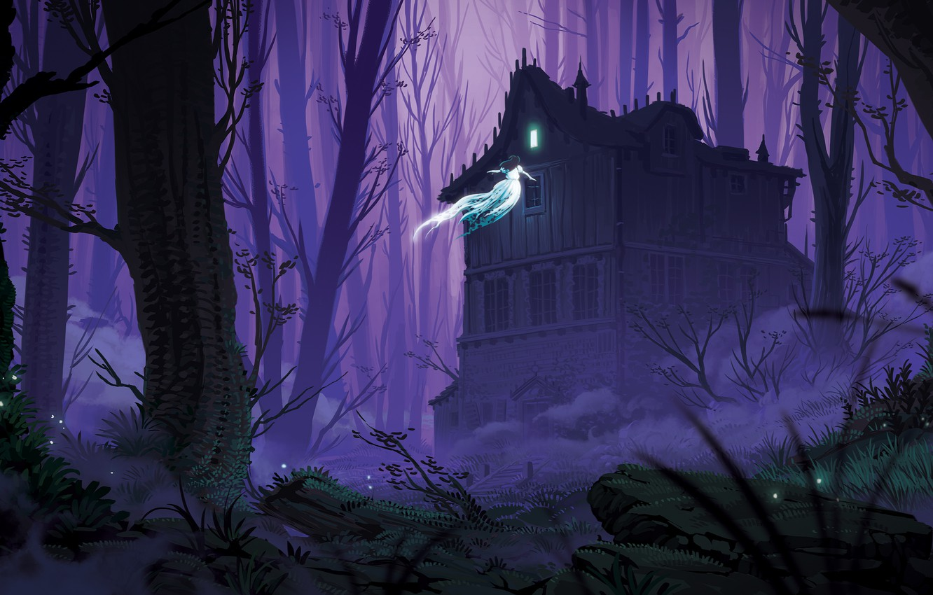 Photo wallpaper Girl, Night, Trees, Forest, House, Ghost, Illustration, Concept Art, Creepy, Environments, Lorenzo Lanfranconi, by Lorenzo …