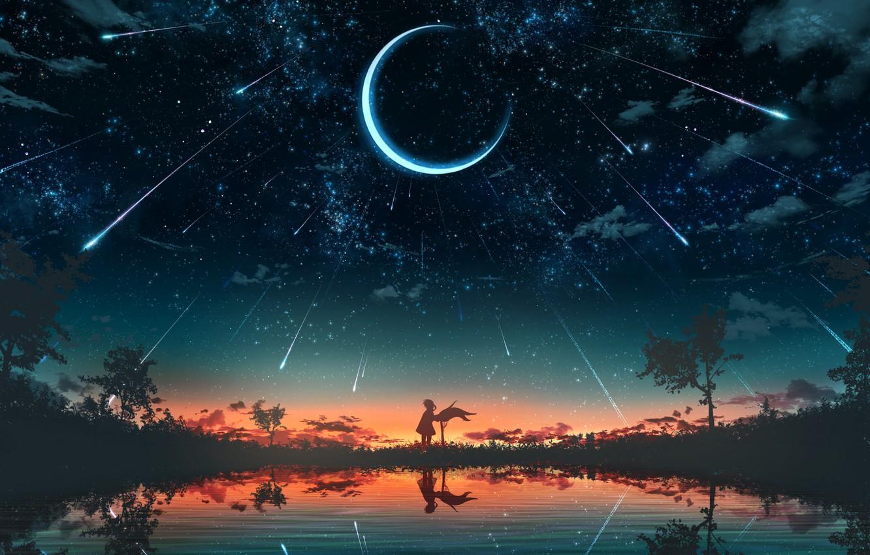 Photo wallpaper girl, sunset, nature, pond, fantasy, Crescent, Starfall