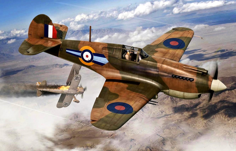 Photo wallpaper RAF, P-40C, WWII, Regia Aeronautica, 73sqn, Tomahawk Mk.IIB, CR.42 Falco