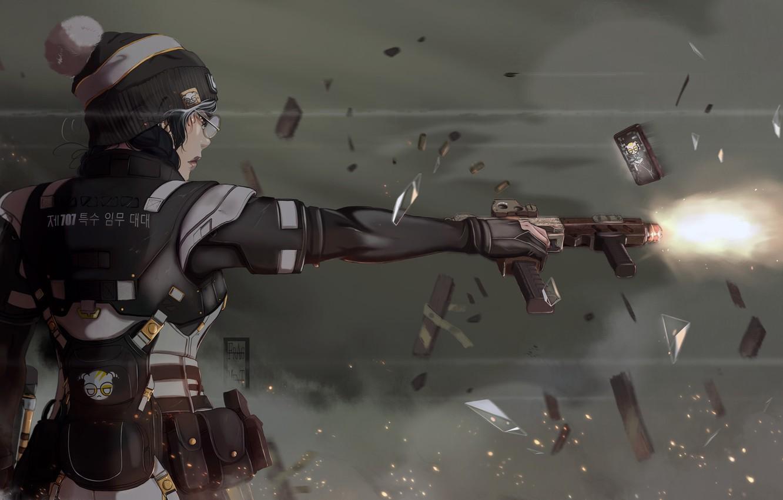 Wallpaper Girl Fire Gun Illustration Weapon 707 Soldier