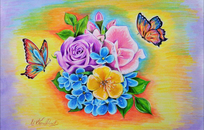 Photo wallpaper Flowers, Figure, Art