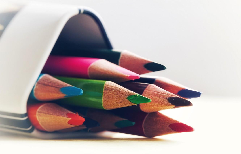 Photo wallpaper pencils, colorful, bokeh