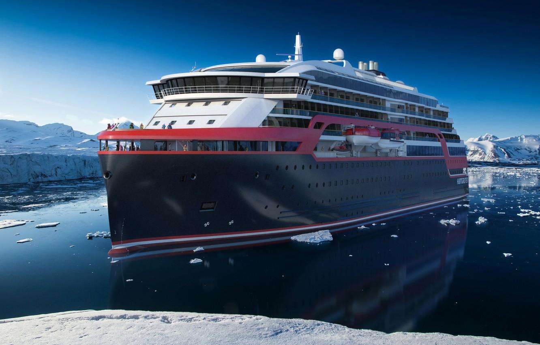 Photo wallpaper Winter, The ocean, Sea, Liner, The ship, Nose, Arctic, Rendering, Tank, Passenger ship, Cruise Ship, ...
