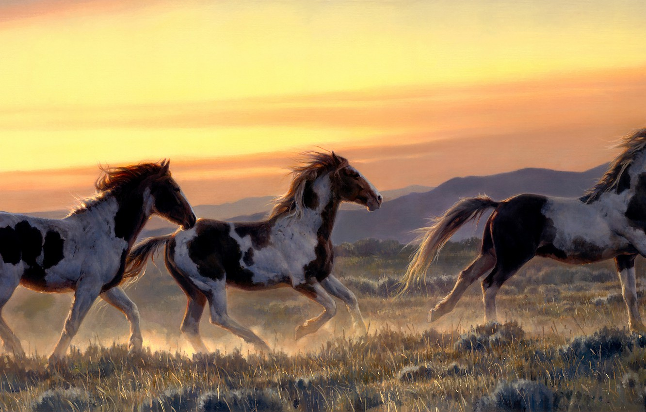 Photo wallpaper field, the sky, mountains, dawn, hills, figure, graphics, horses, picture, morning, horse, art, running, walk, …