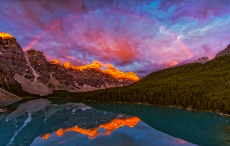 Photo wallpaper landscape, sunset, mountains, nature, lake, rainbow, Canada, Albert, forest, national Park, reserve, Banff, Banff, Moraine