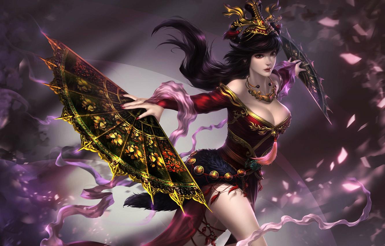 Photo wallpaper Girl, Style, Asian, Girl, Costume, Fantasy, Art, Art, Asian, Fiction, Asia, Fan, Outfit, Fans, by …