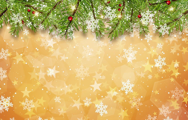 Photo wallpaper winter, snow, snowflakes, background, Christmas, winter, background, snow, snowflakes, fir tree, fir-tree branches