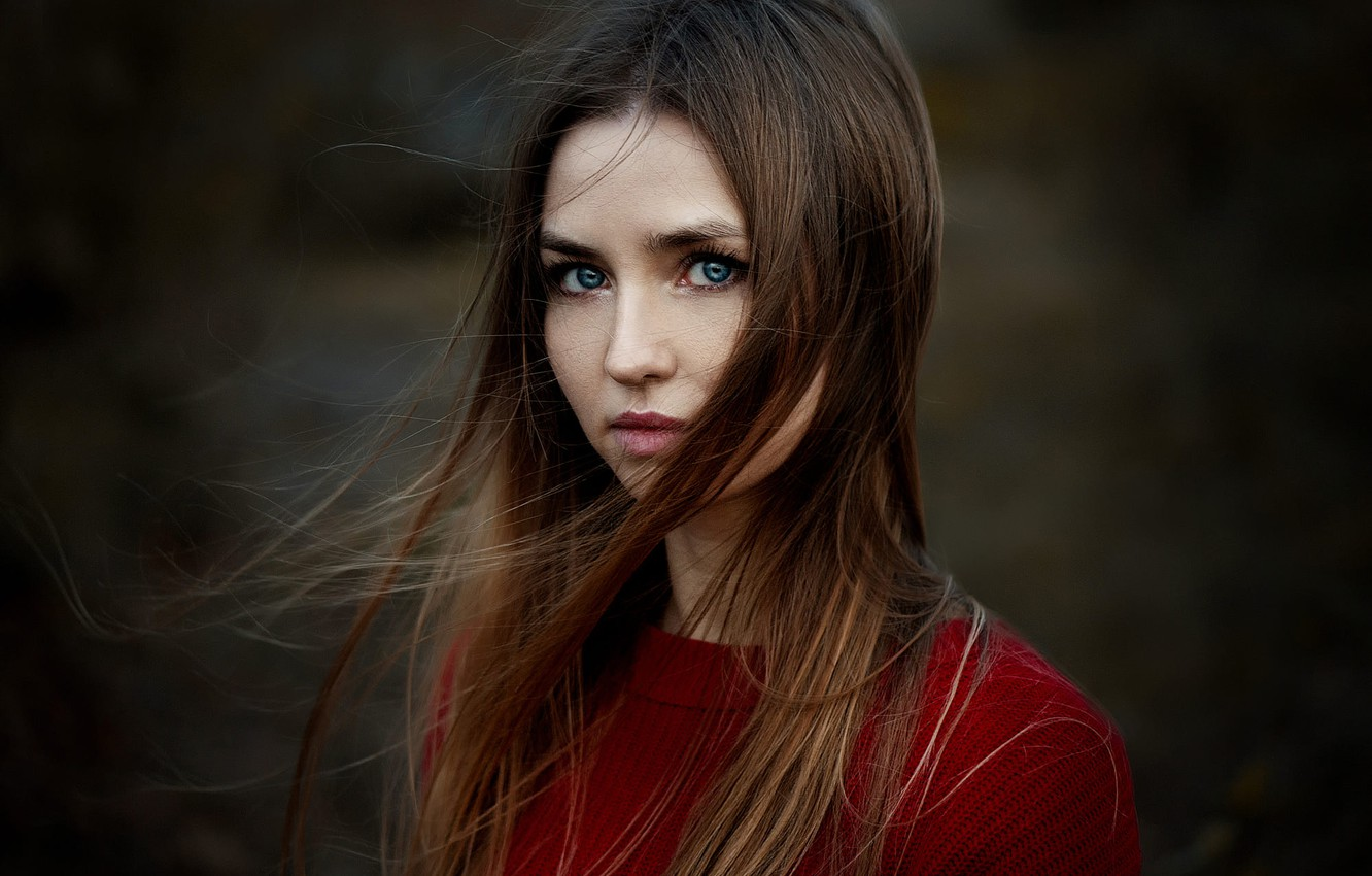 Photo wallpaper curls, sweater, Dasha, Ann Nevreva