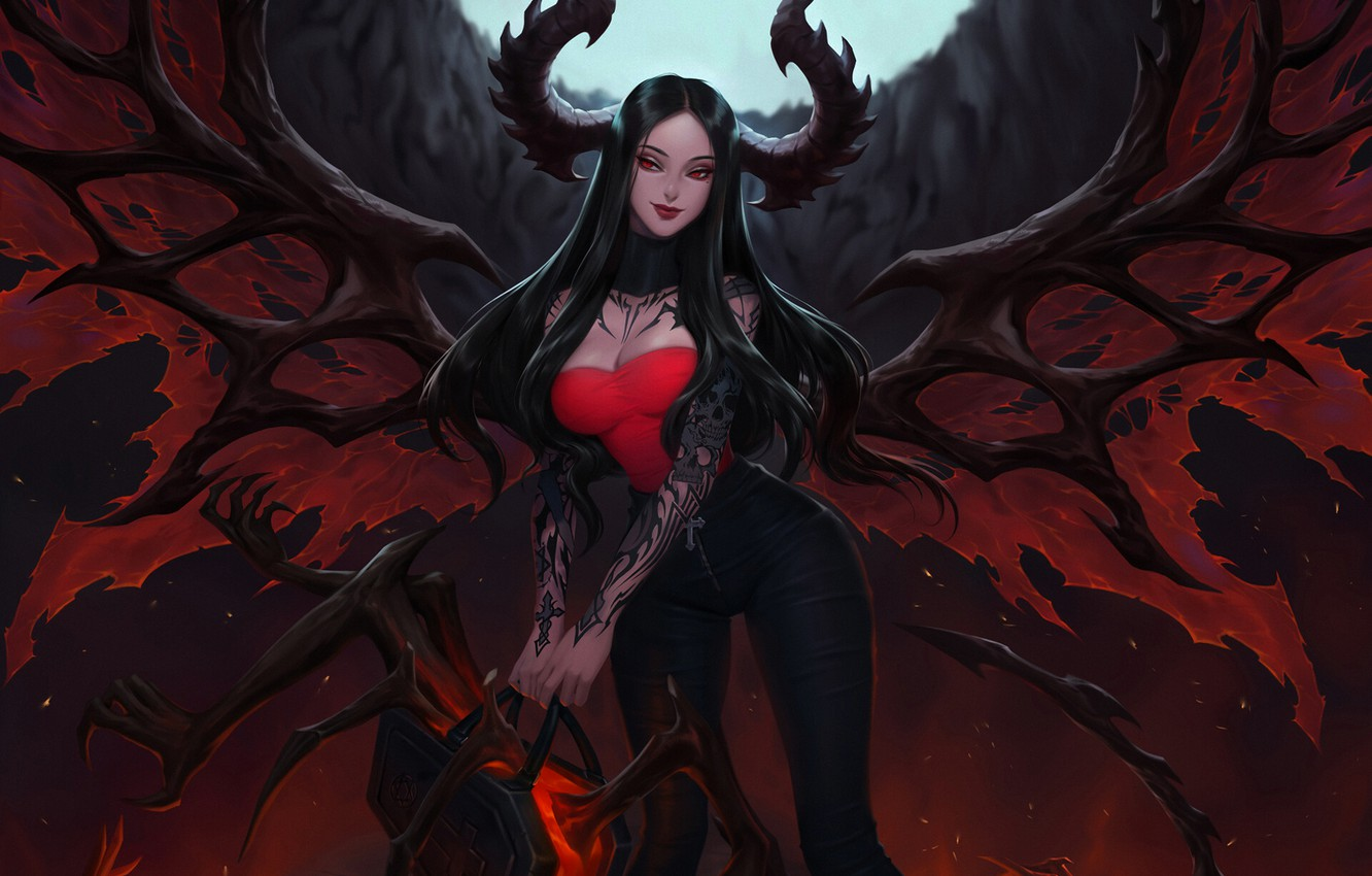 Wallpaper Wings Hell The Demon Fantasy Horns Art Succubus Illustration Succubus Demon Wings Horns Citemer Liu Road Of Hell By Citemer Liu Images For Desktop Section Fantastika Download
