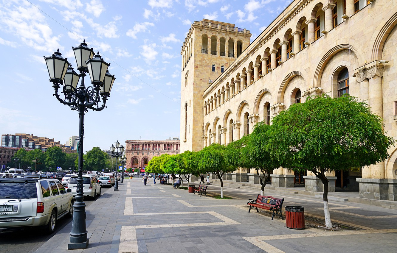 Photo wallpaper Home, Trees, Street, benches, Armenia, Yerevan, Street lights