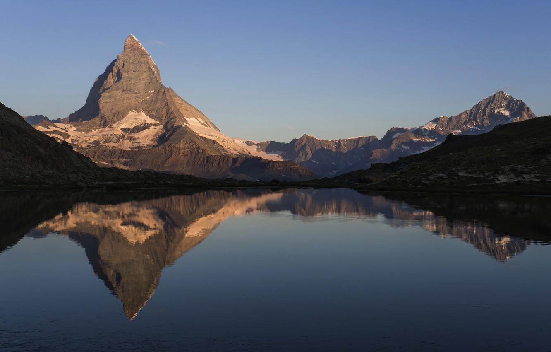 Photo wallpaper mountains, lake, Switzerland, Riffelsee
