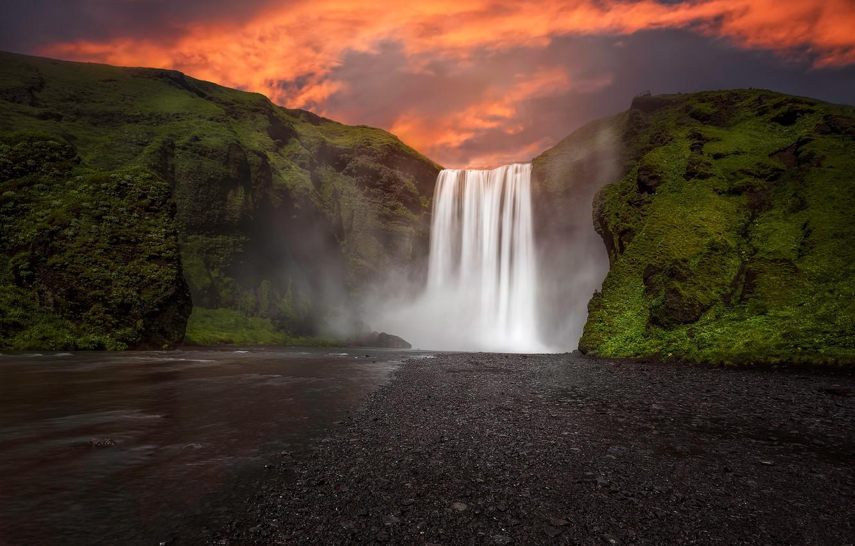 Photo wallpaper sunset, rock, river, stones, waterfall, moss, the evening, Iceland, Skogafoss