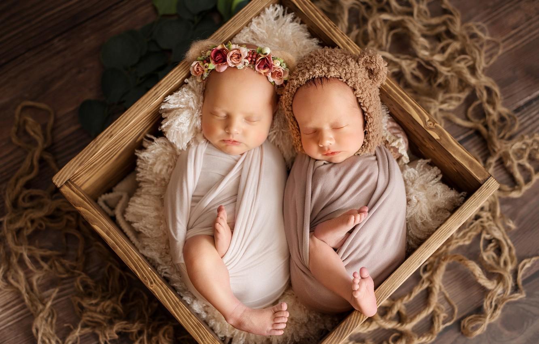 Photo wallpaper box, sleep, kids, wreath, cap, babies