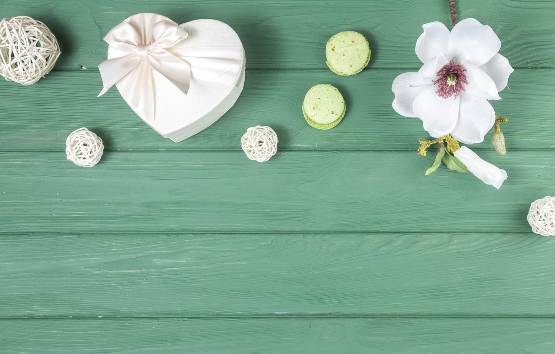 Photo wallpaper flower, gift, white, composition, macaron