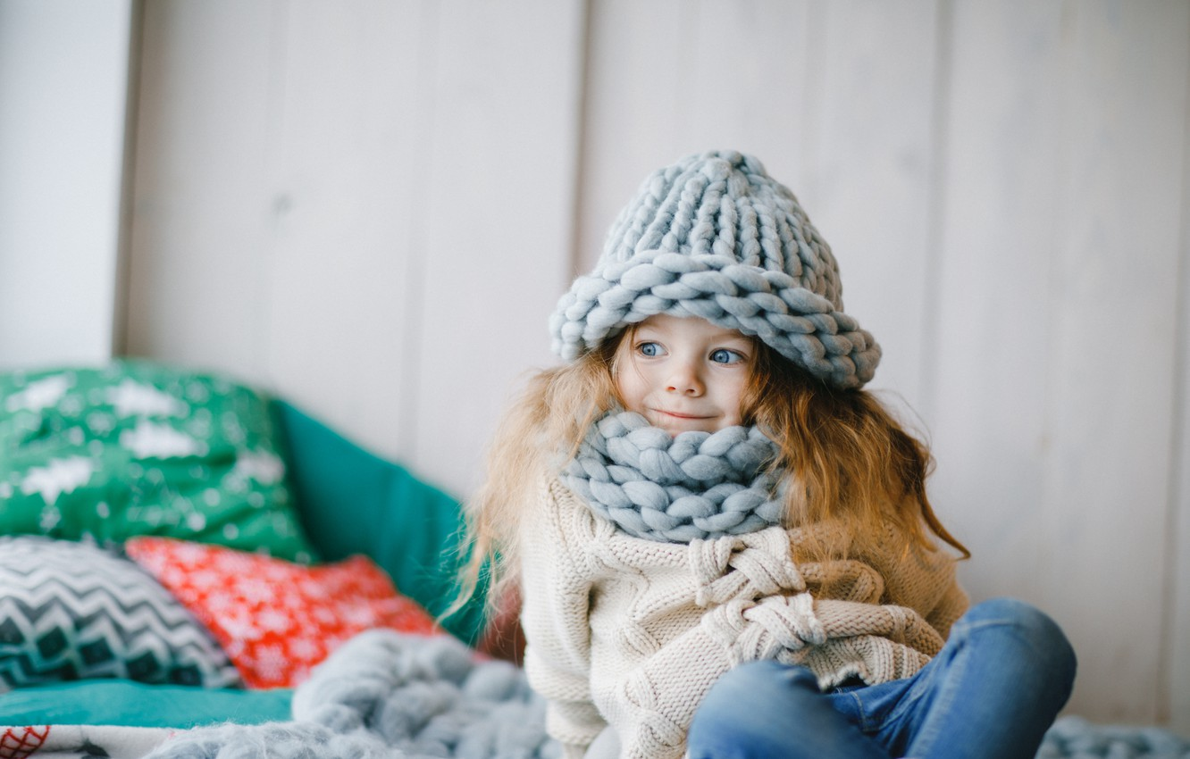 Photo wallpaper smile, hat, jeans, scarf, girl, happy, smile, cute, little girl