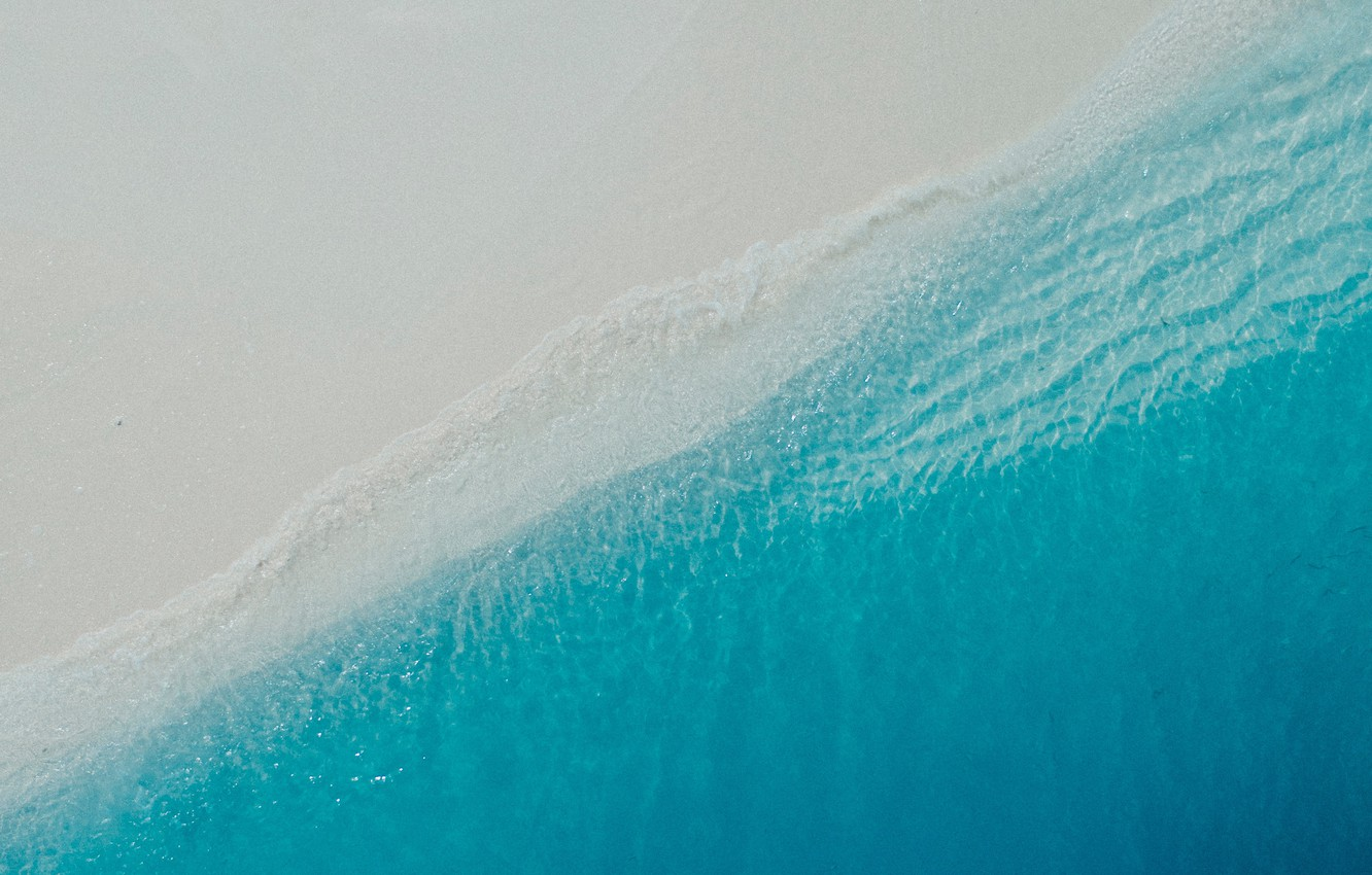 Photo wallpaper sand, sea, wave, beach, summer, water, shore, the view from the top