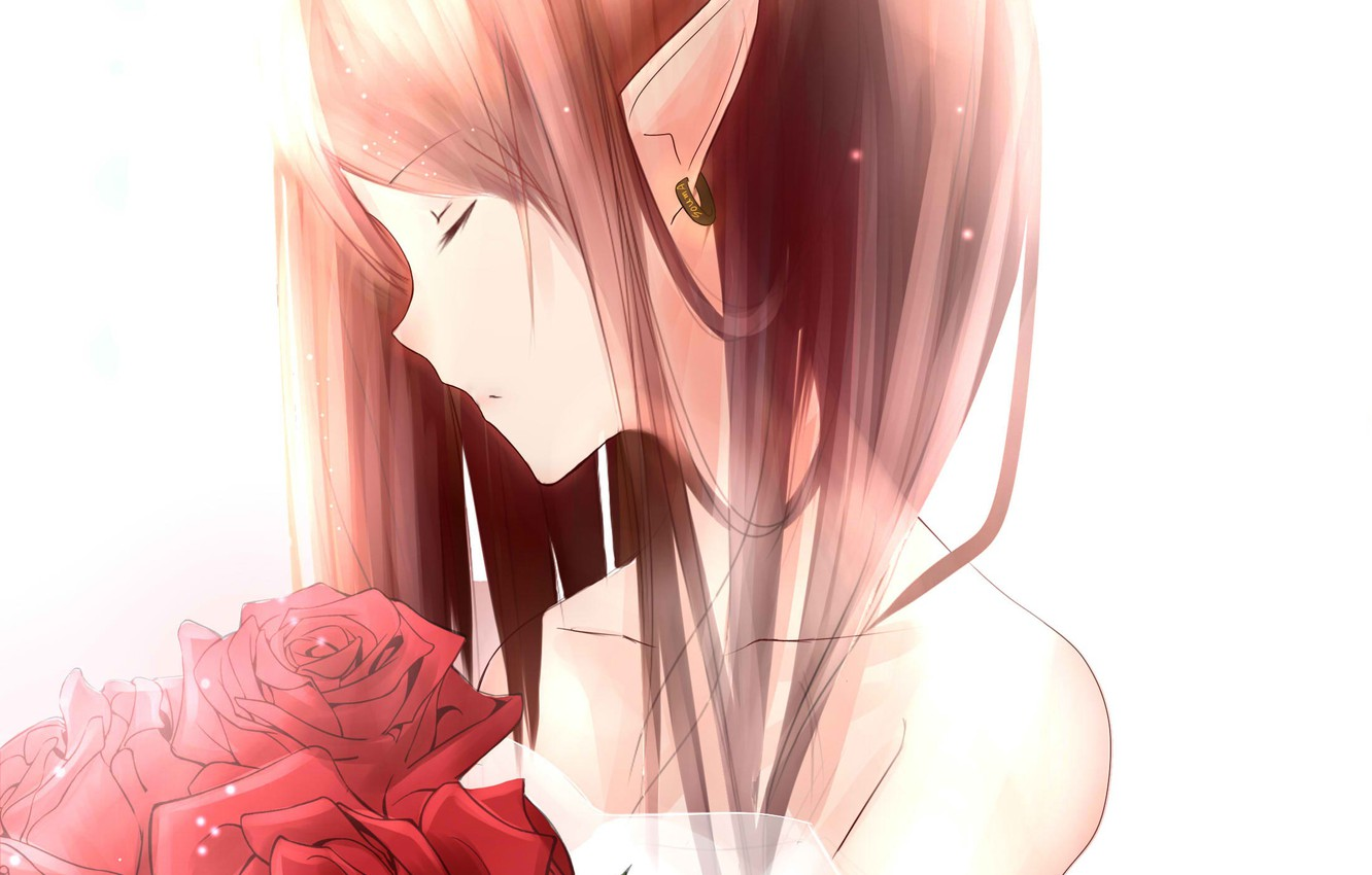 Photo wallpaper red, earring, closed eyes, red roses, pointy, neck shoulders, elf girl, elphicke, bouquet of roses