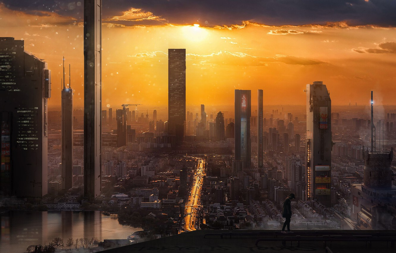 Photo wallpaper Sunset, The city, Skyscrapers, Building, City, Fantasy, Landscape, Sky, Skyscraper, Art, Art, Sun, Environments, Mark …