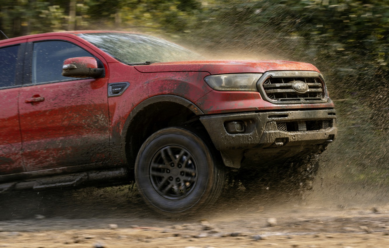 Photo wallpaper squirt, movement, Ford, the hood, dirt, pickup, the front part, Ranger, Lariat, Tremor, 2021