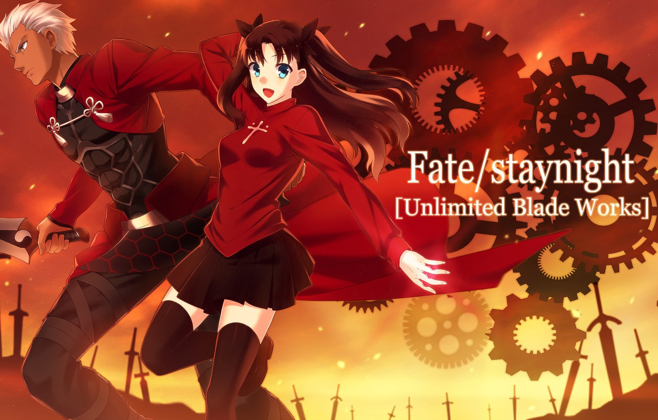 Photo wallpaper weapons, anime, art, male, Fate/Stay Night, Rin, Archer, Fate stay night